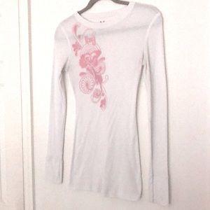 Roxy White Long Sleeve Tee with Pink Print